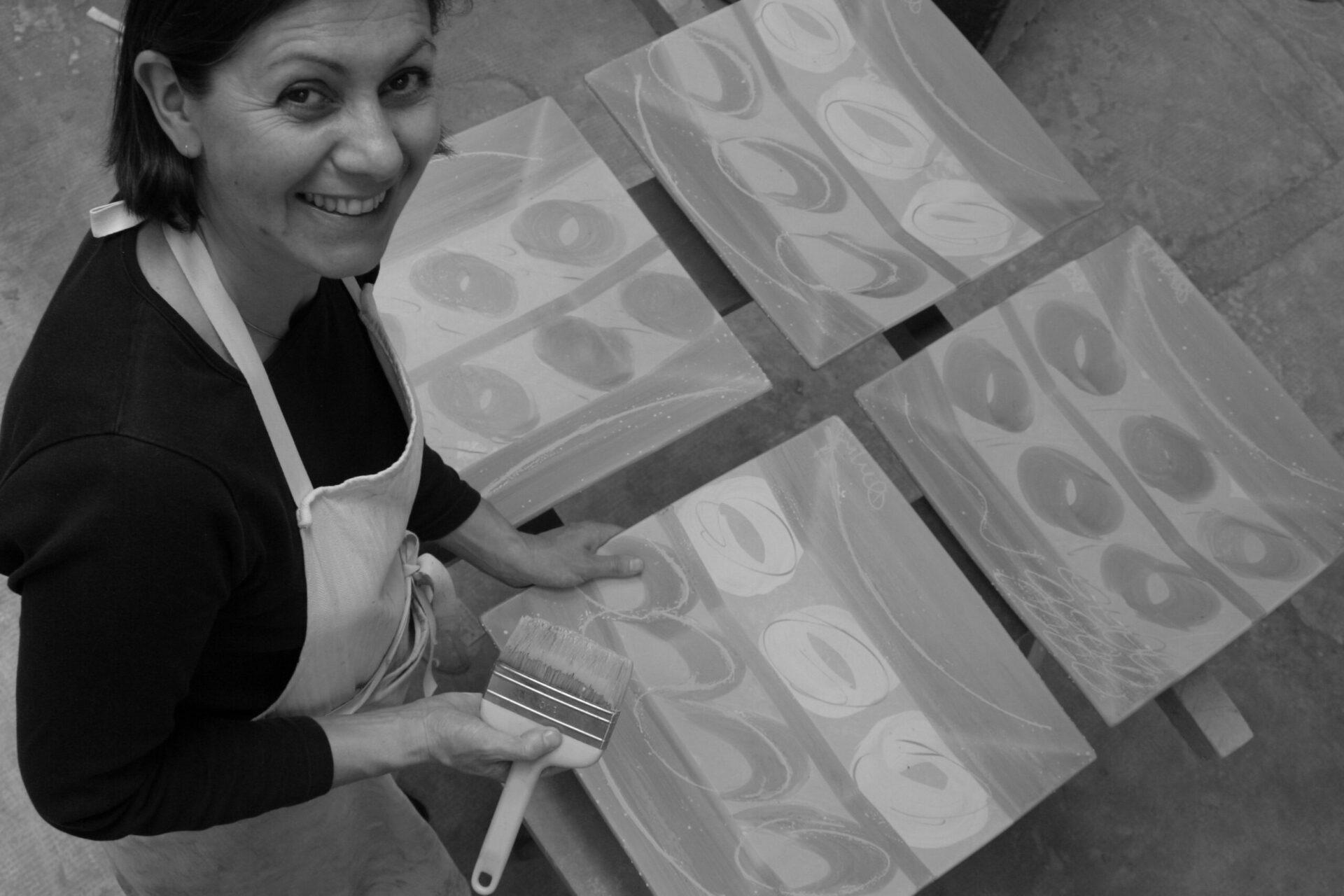 Françoise Dufayard-Décoration aux engobes, 4 plats carrées